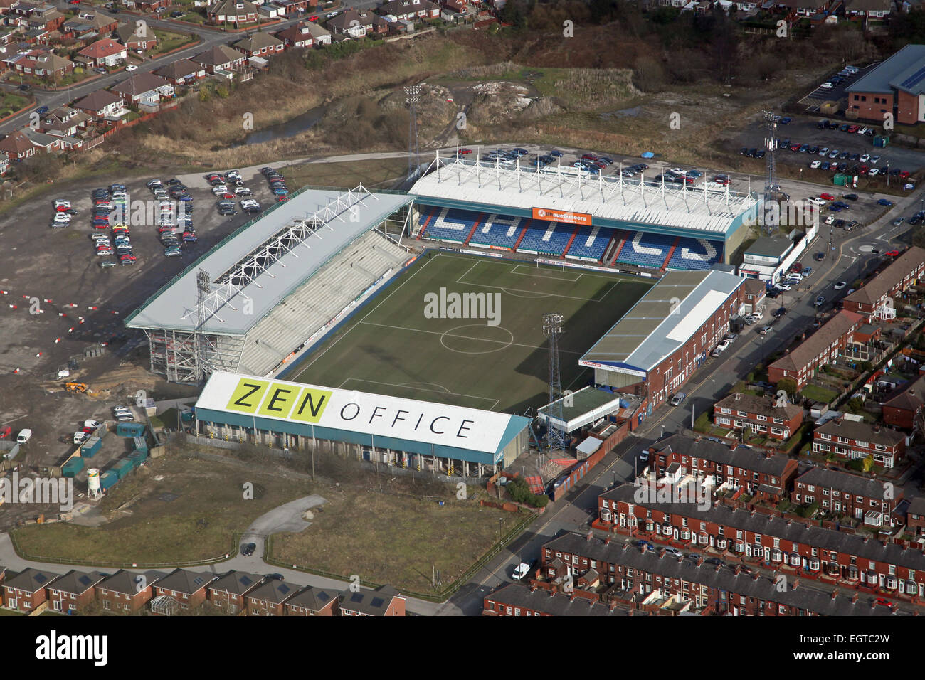 aerial view of Oldham FC Boundary Park stadium - Stock Image