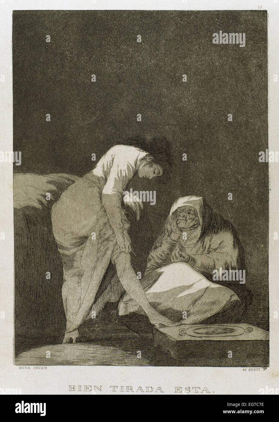 Francisco Goya (1746-1828). Caprices. Plaque 17. It is nicely stretched. 18th century. Prado Museum. Madrid. Spain. - Stock Image