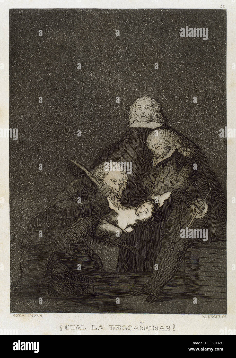 Francisco Goya (1746-1828). Caprices. Plaque 21. How they pluck her !. 18th century. Prado Museum. Madrid. Spain. - Stock Image