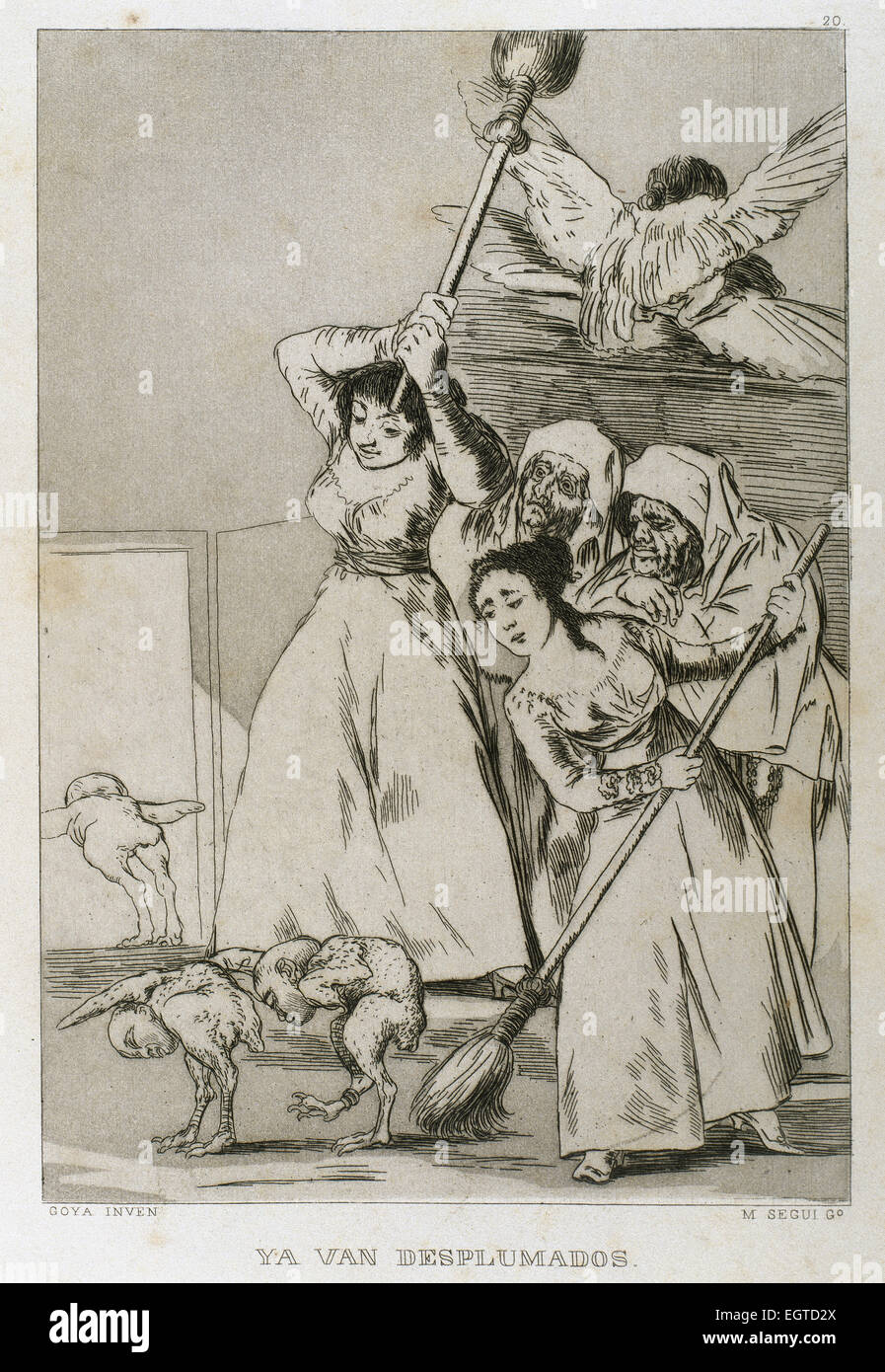 Francisco Goya (1746-1828). Caprices. Plaque 20. There they go plucked. Prado Museum. Madrid. - Stock Image
