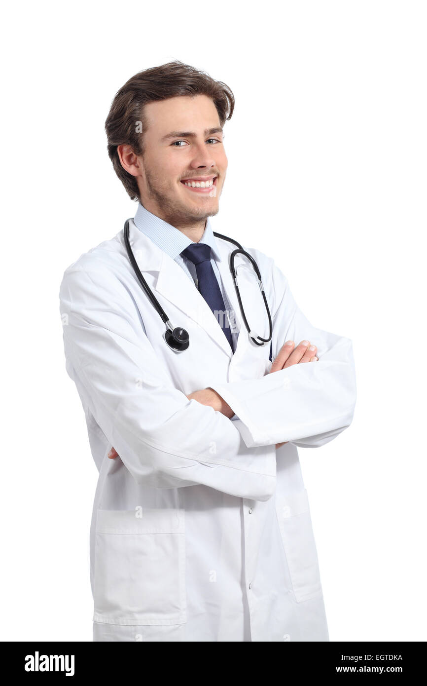 Young happy doctor man posing with folded arms smiling confident isolated on a white background - Stock Image
