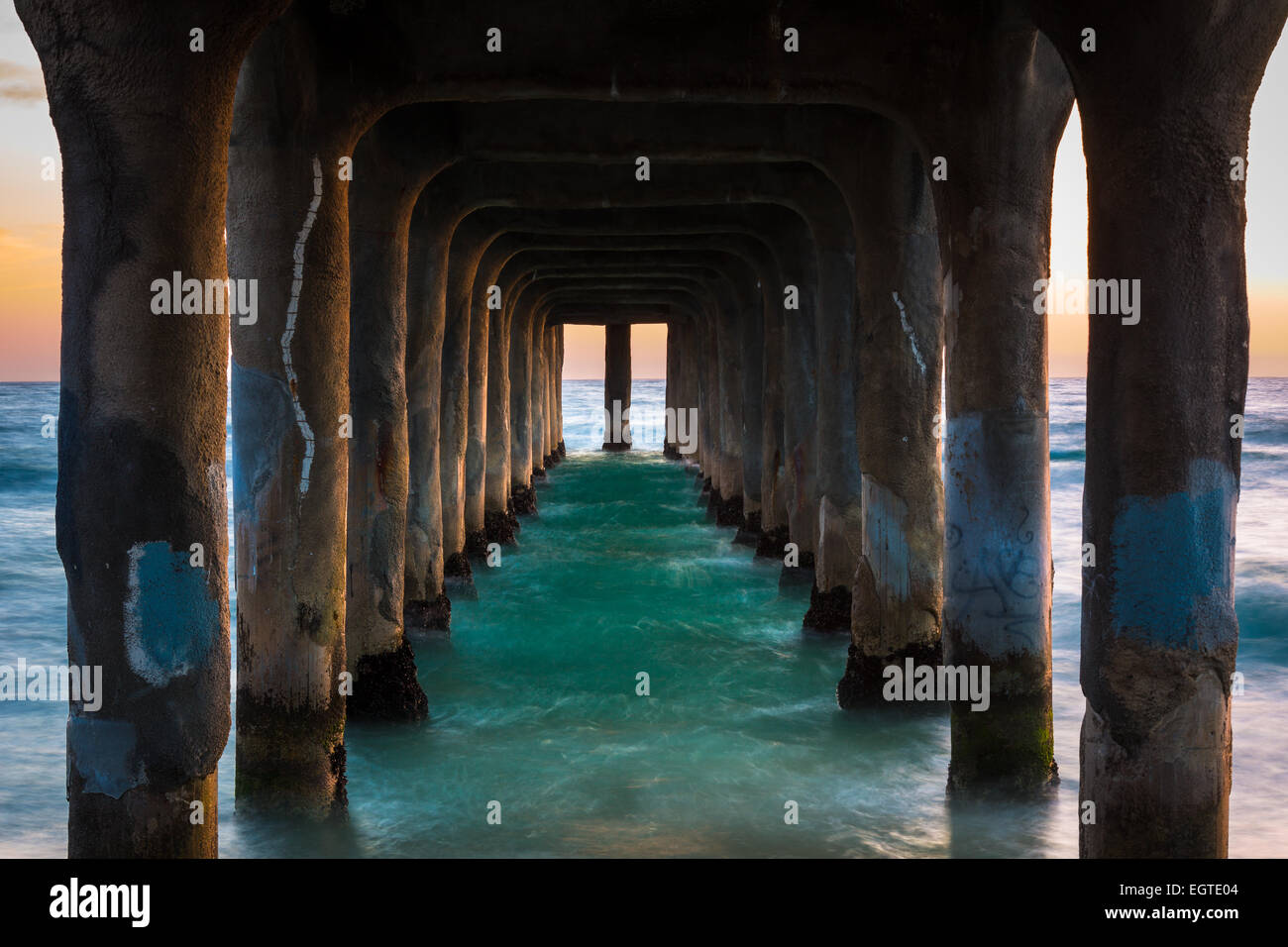 The Manhattan Beach Pier is a pier located in Manhattan Beach, California, on the coast of the Pacific Ocean. - Stock Image