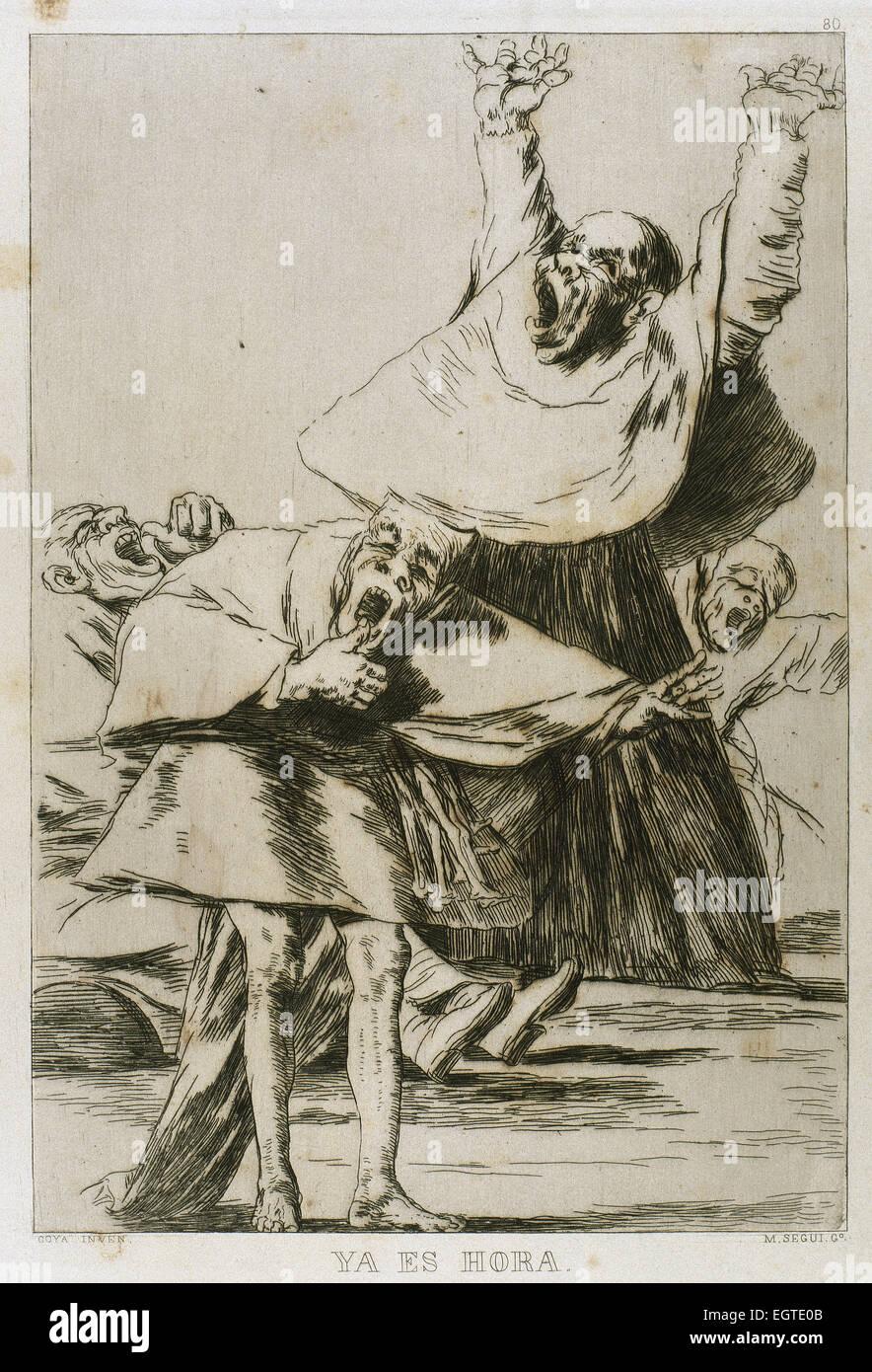 Francisco Goya (1746-1828). Caprices. Plaque 80. 18th century. It is time. Prado Museum. Madrid. - Stock Image