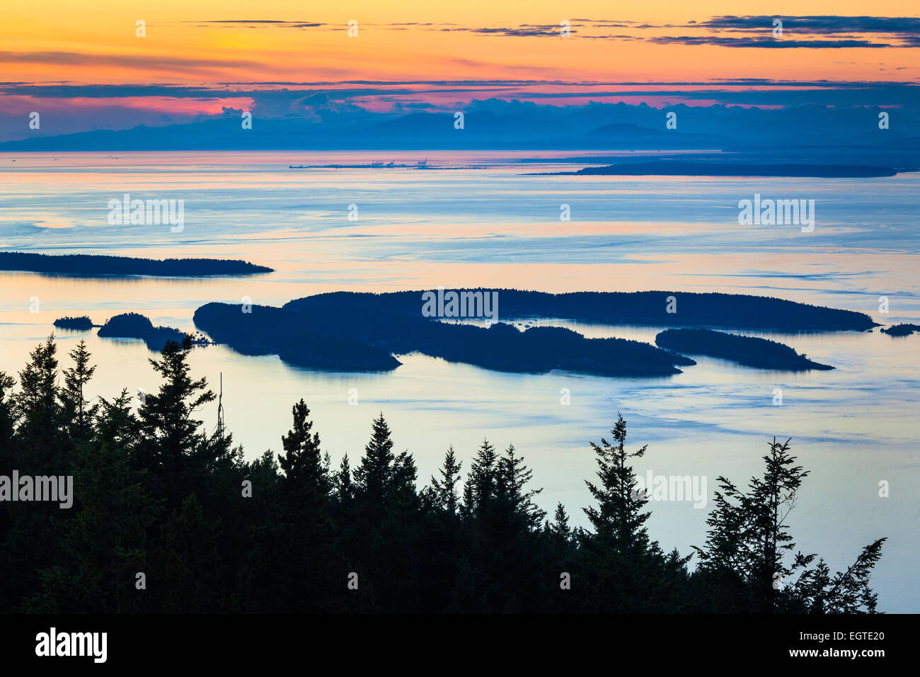 Mount Constitution is a mountain on Orcas Island, and the highest point in the San Juan Islands. - Stock Image