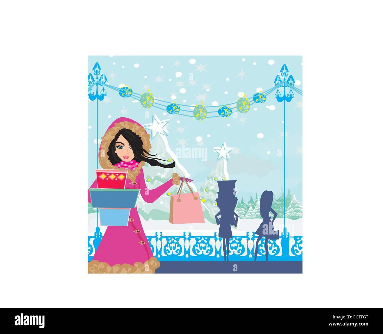 5021e5be5b8b beautiful girls on winter shopping Stock Vector Art   Illustration ...