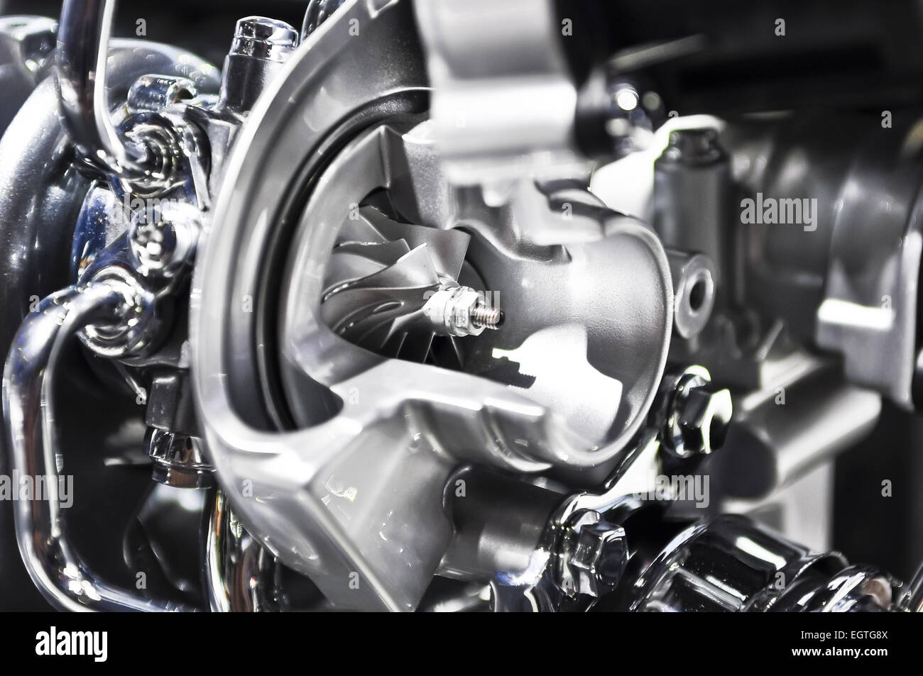 the Turbine internal combustion engine in section Stock Photo