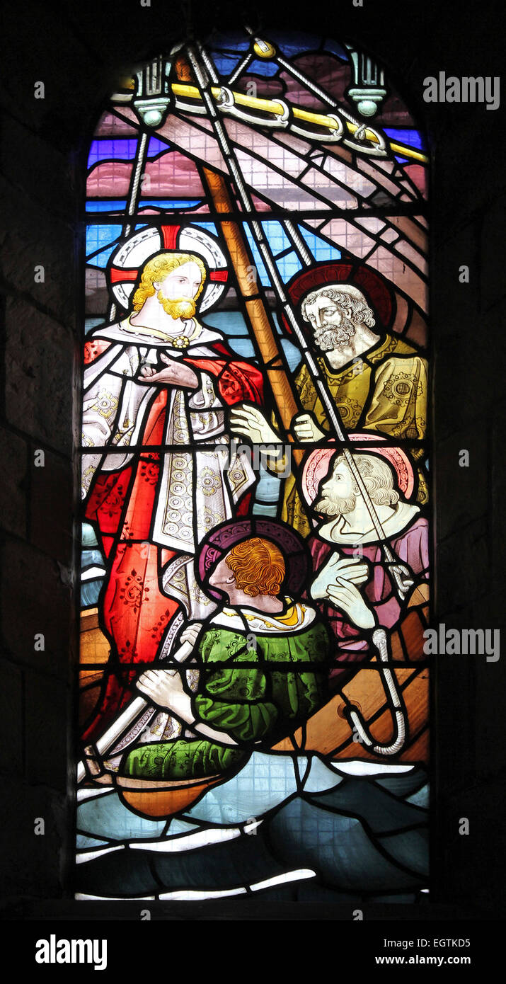 Stained Glass Window Depicting Christ Calming The Tempest At Sea - Stock Image