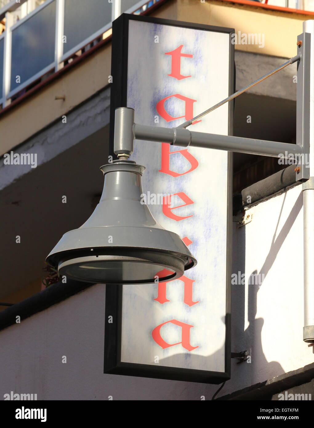 Taverna Taberna sign with streetlamp. Puerto de la cruz Tenerife spain - Stock Image