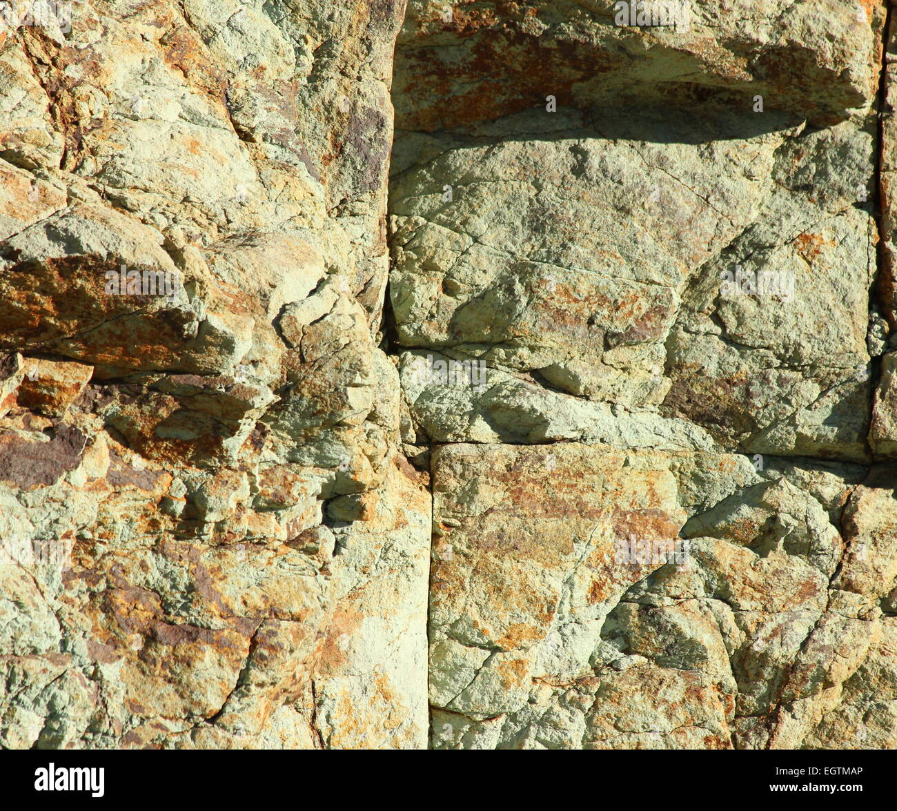 Los Azulejos, green rocks in Teide national park tenerife - Stock Image