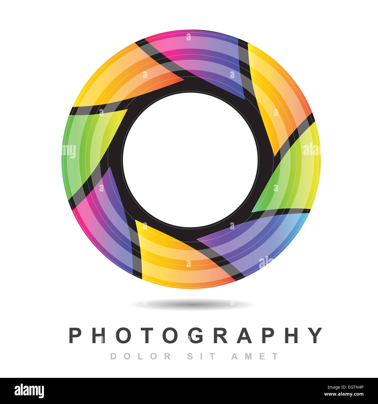 Colored logo vector design of a photography camera diaphragm - Stock Image