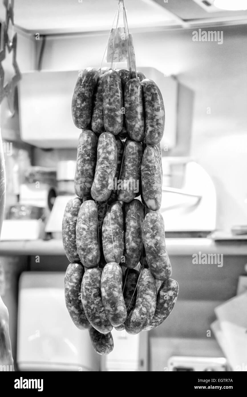 Sausages on Display at a Local Market. Black and White - Stock Image