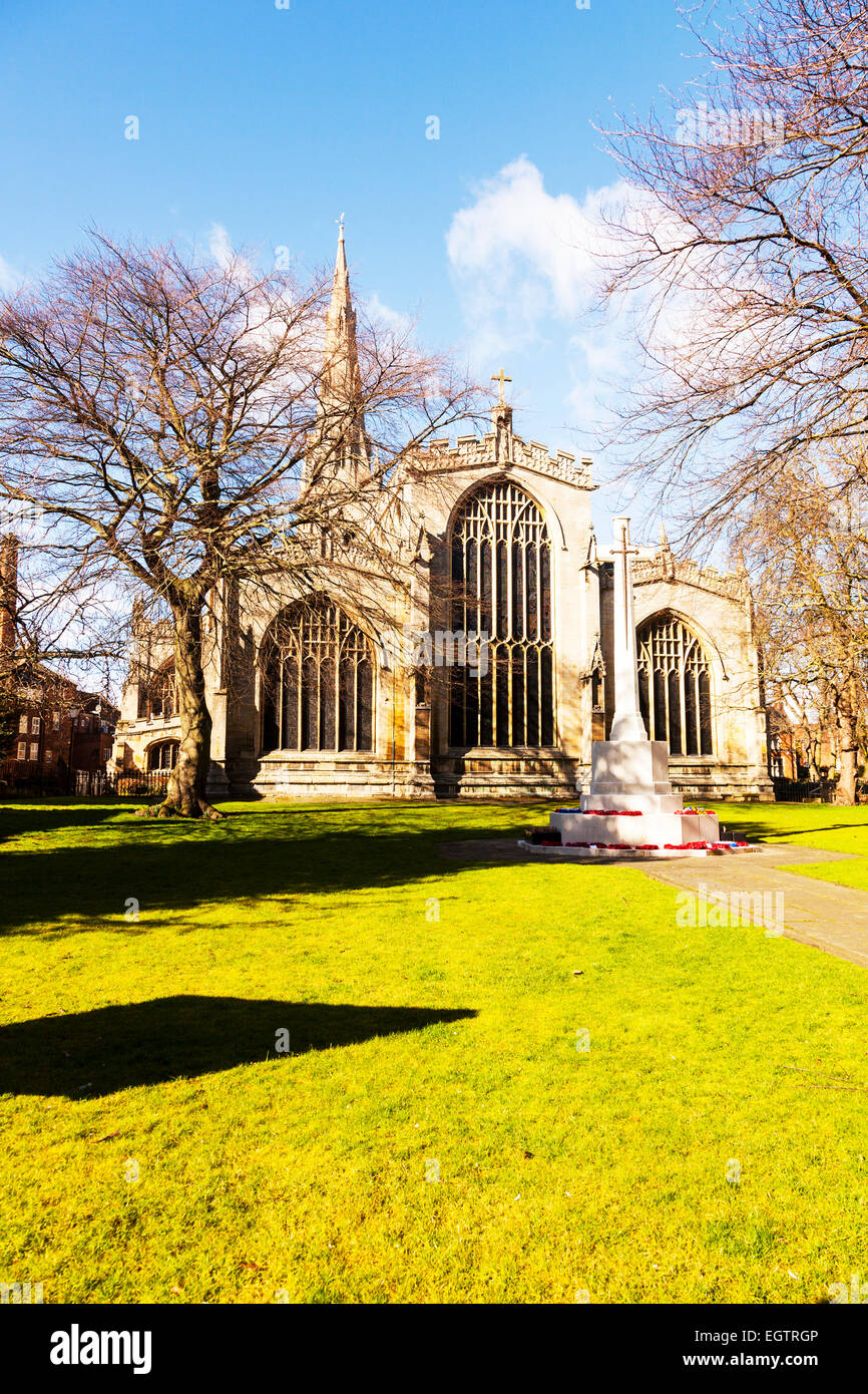 Newark on Trent town centre parish church of St. Mary Magdelene exterior facade Nottinghamshire UK England - Stock Image