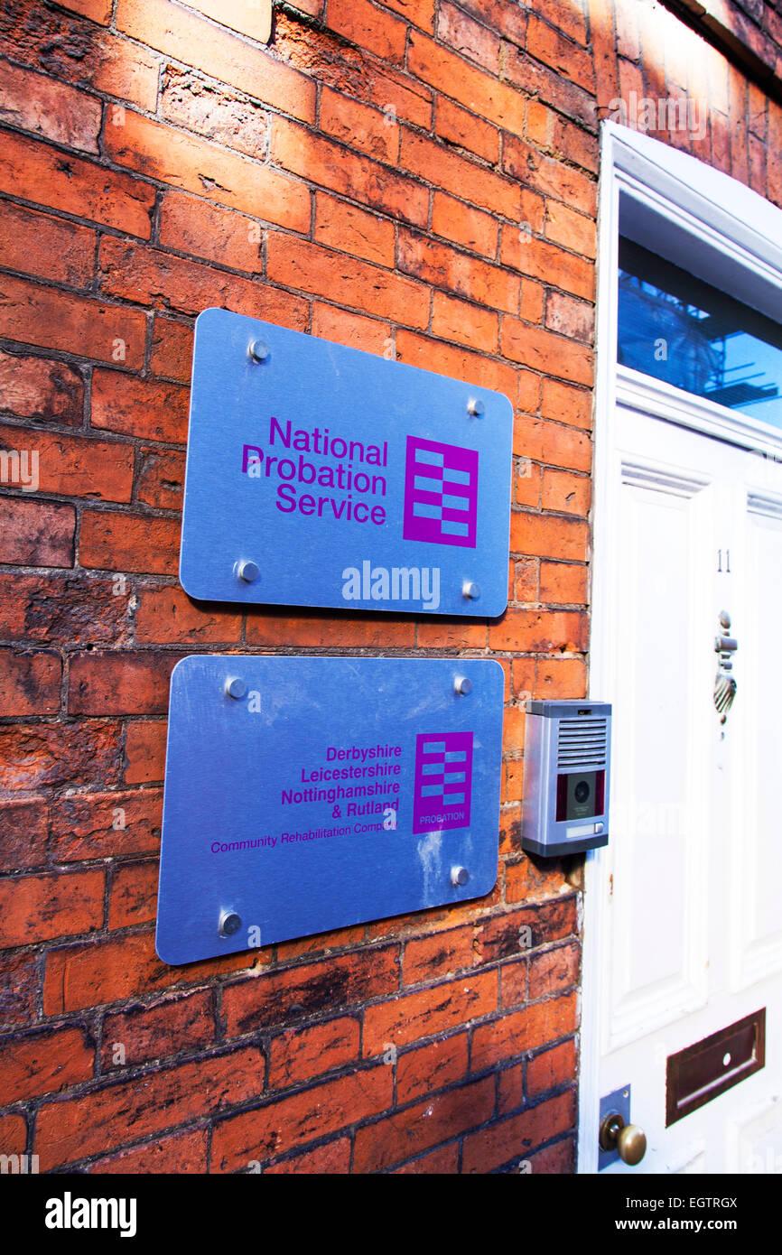 National probation service sign Newark on Trent town building exterior Nottinghamshire UK England - Stock Image