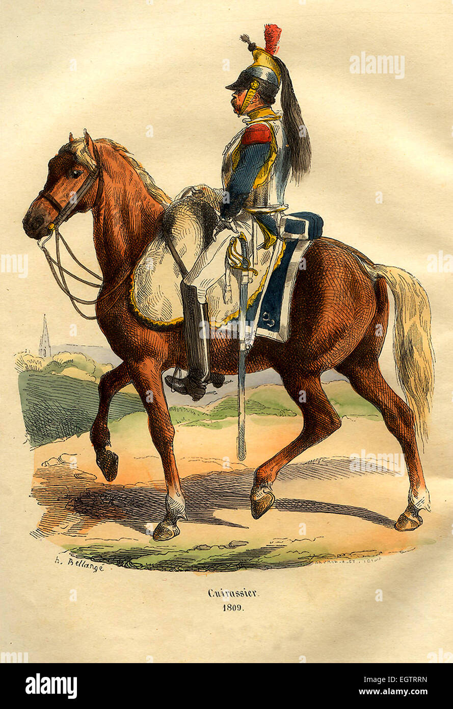 French Cuirassier cavalry officer - Stock Image