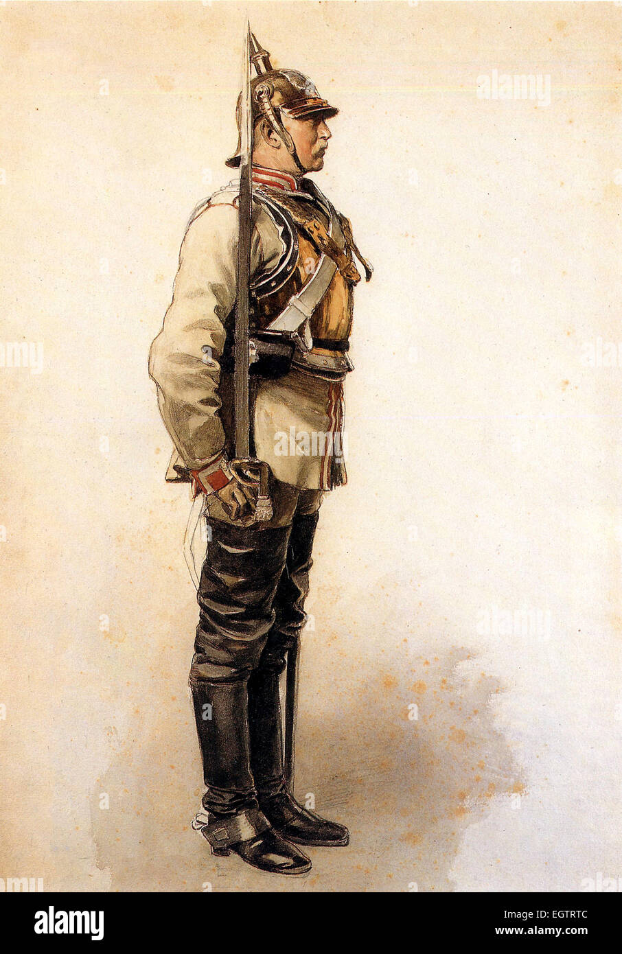 Prussian Garde du Corps cuirassier during the Franco-Prussian War. - Stock Image