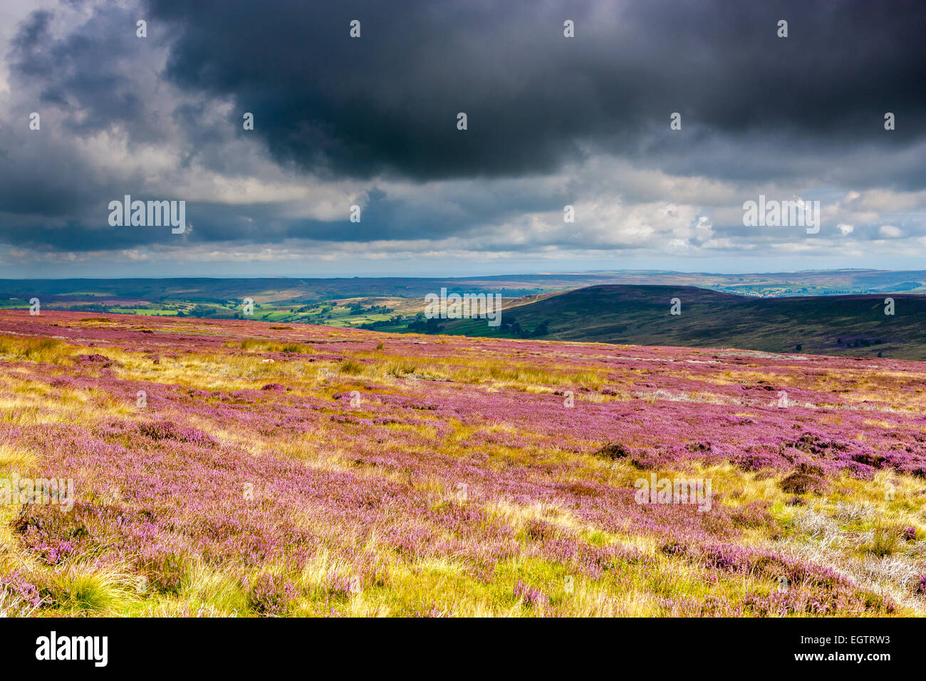A view over moors near Castelton, North York Moors National Park, North Yorkshire, England, United Kingdom, Europe. Stock Photo