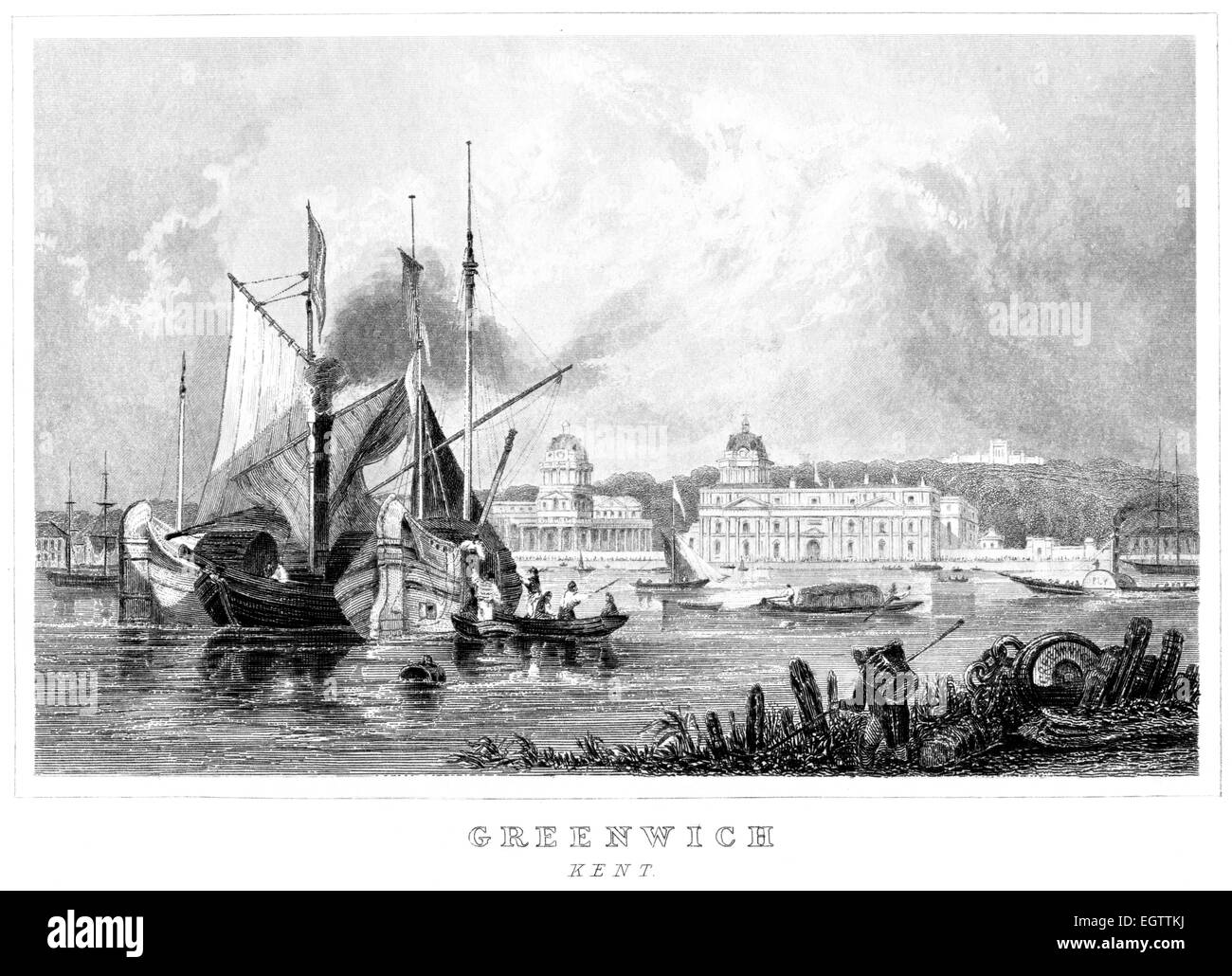 An engraving of Greenwich, Kent scanned at high resolution from a book printed around 1850. - Stock Image