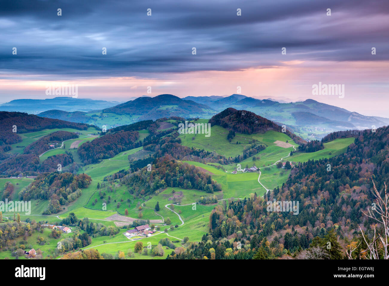 View from Belchenflue on the border of canton Basel-Landschaft and canton Solothurn in the Jura Mountains, Switzerland. - Stock Image