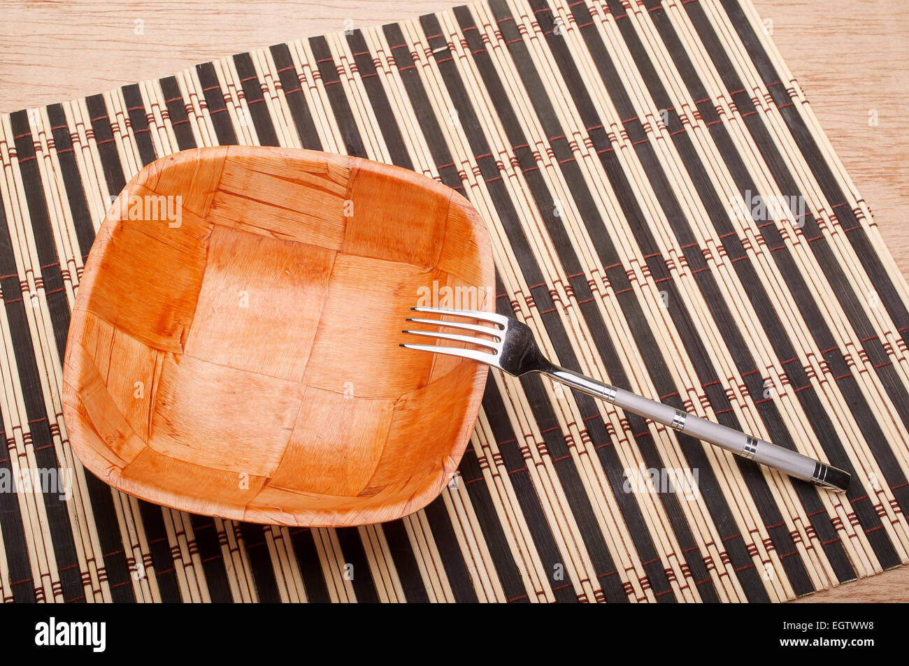 Fork detail in bowl on placemats Stock Photo