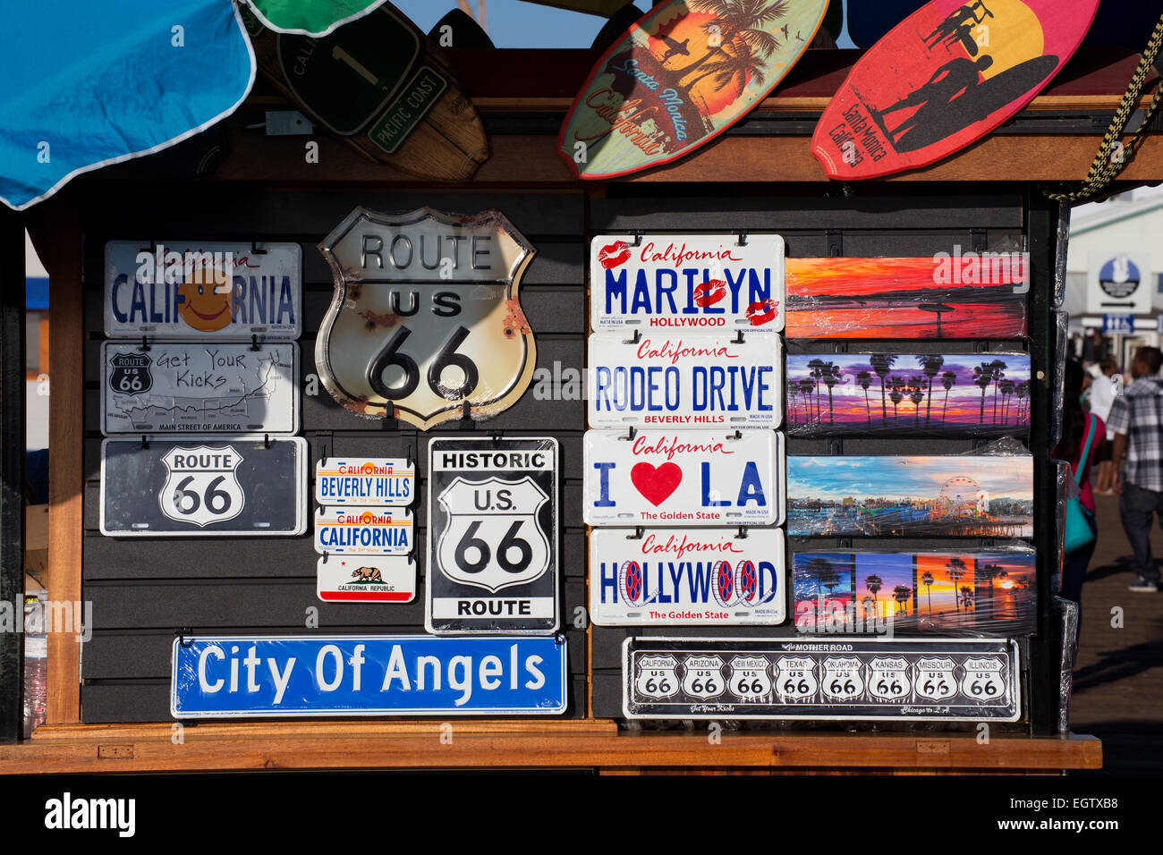 Signs and license plates for sale on a stall on Santa Monica Pier ...