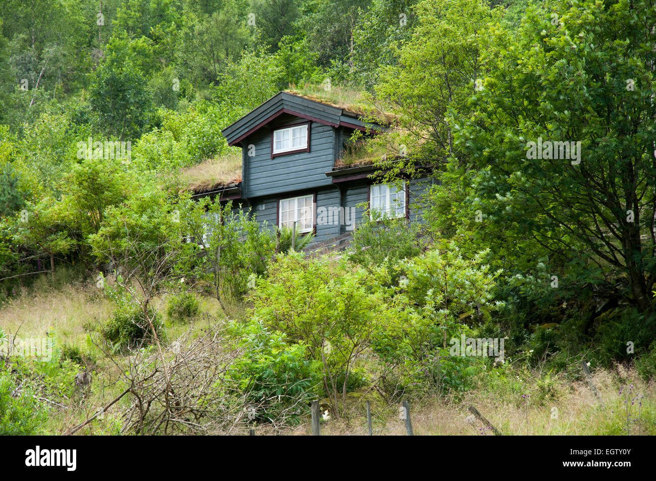 A holiday home in Olden at the end of Nordfjord in Norway.  Ferienhaus in Olden am Ende des Nordjords in Norwegen. - Stock Image