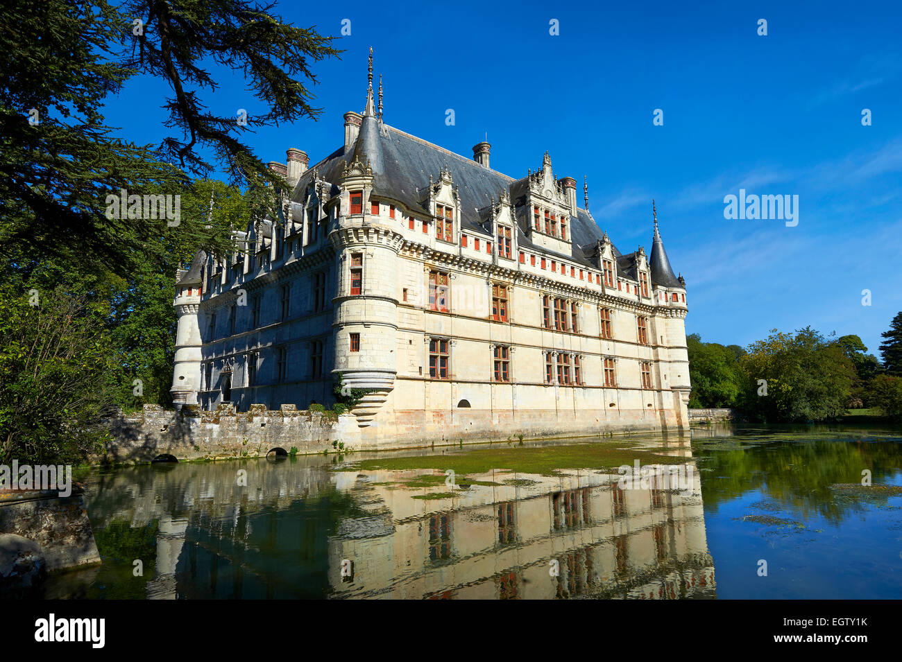 Exterior of the Renaissance Château d'Azay-le-Rideau with its moat, built between 1518 and 1527,Loire Valley, - Stock Image