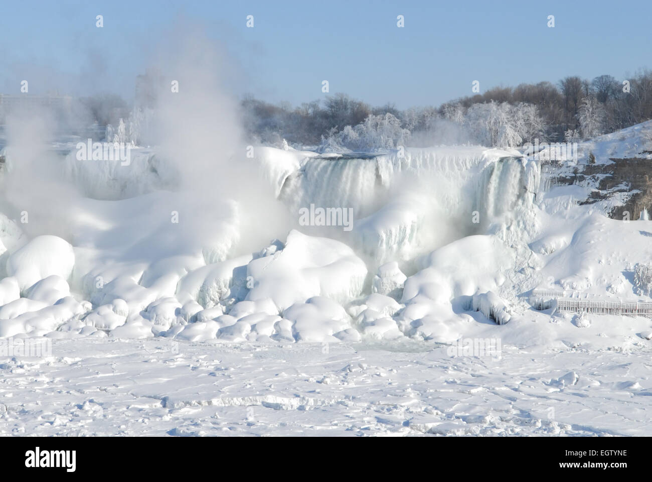 The American Side Of Niagara Falls Frozen Over During One Of