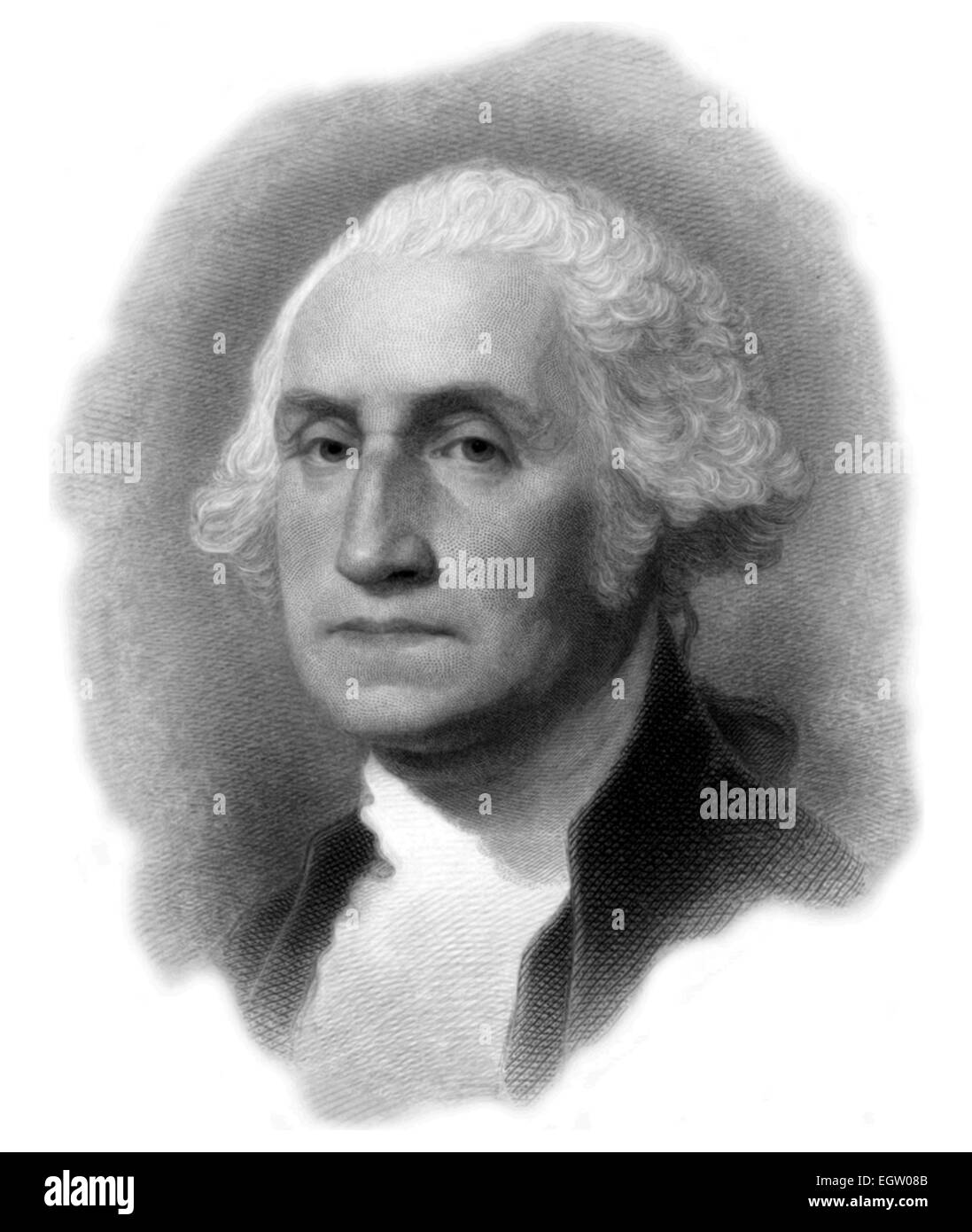 Portrait of American President George Washington in an engraving by Gilbert Stuart 1879. - Stock Image