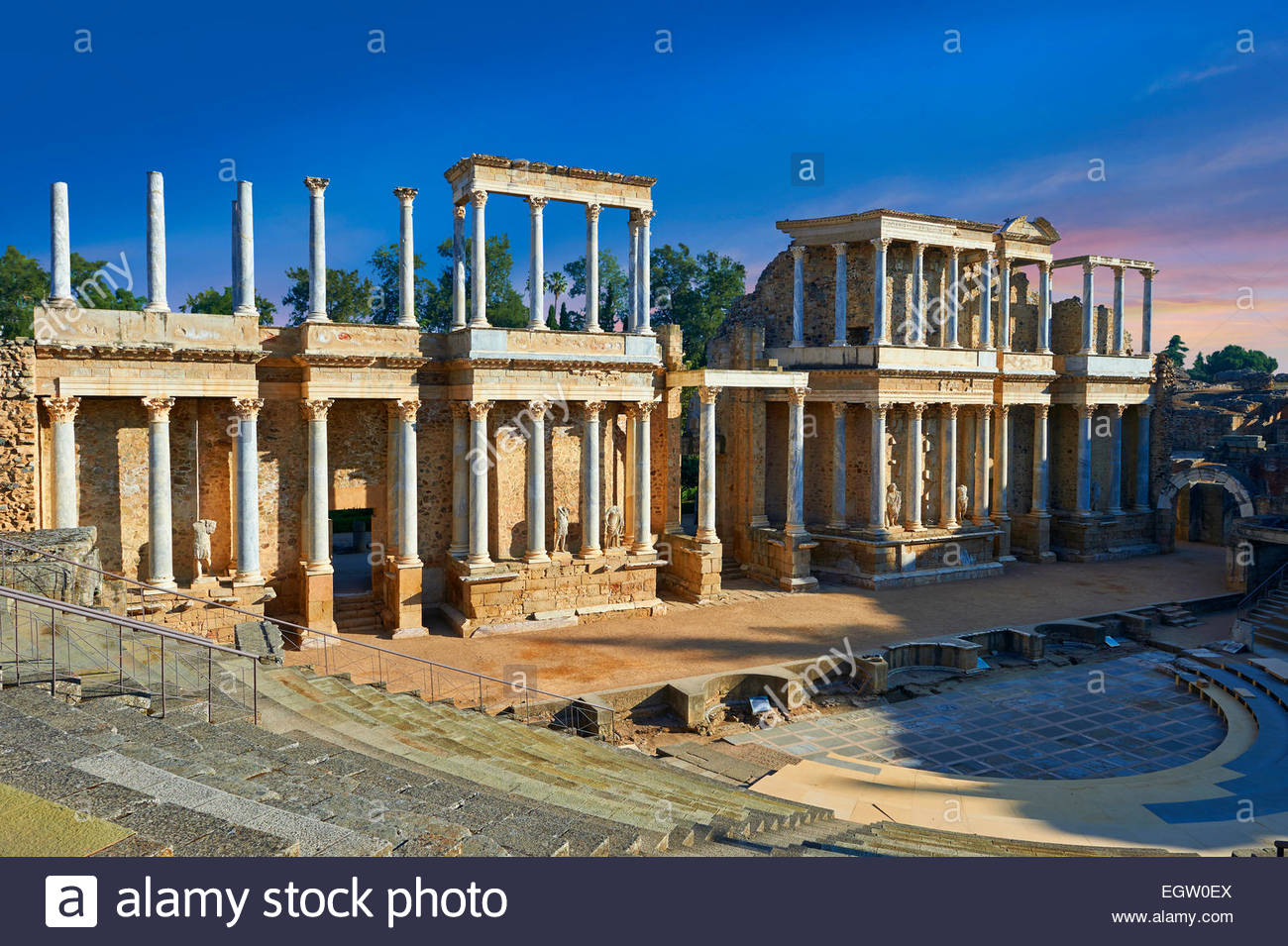 Roman theatre of the Roman colony of Emerita Augusta (Mérida) dedicated by the consul Marcus Vipsanius Agrippa - Stock Image