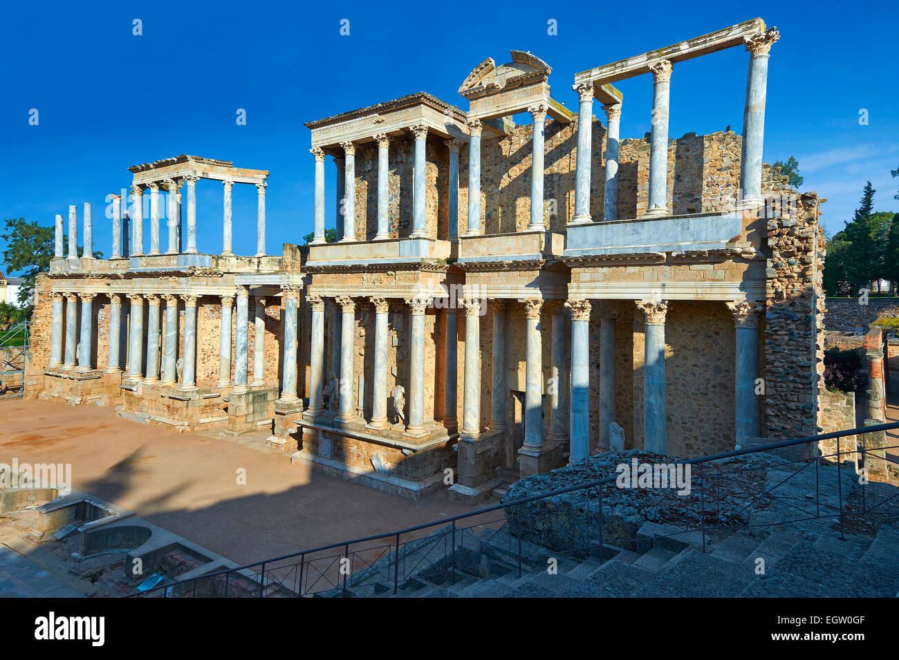Roman theatre of the Roman colony of Emerita Augusta, Merida, Estremadura, Spain Stock Photo