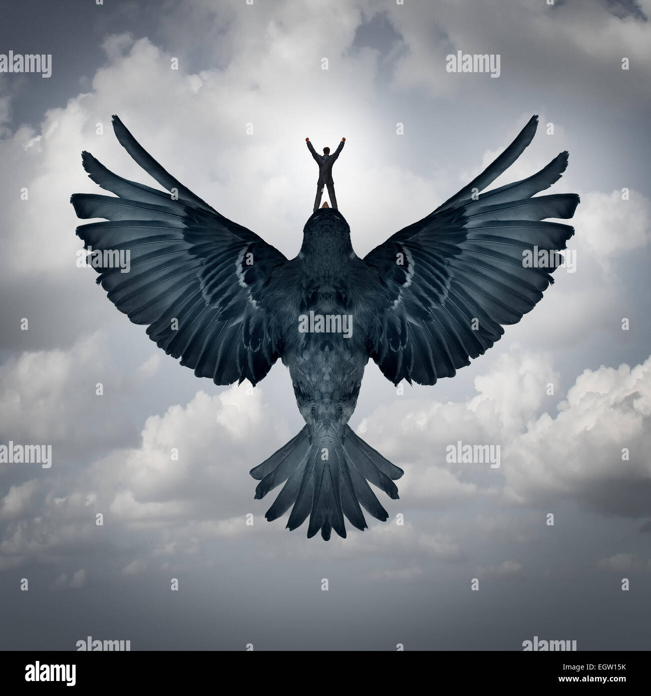 Success freedom business concept as a man riding an open wing bird flying upward as a symbol for reaching career - Stock Image