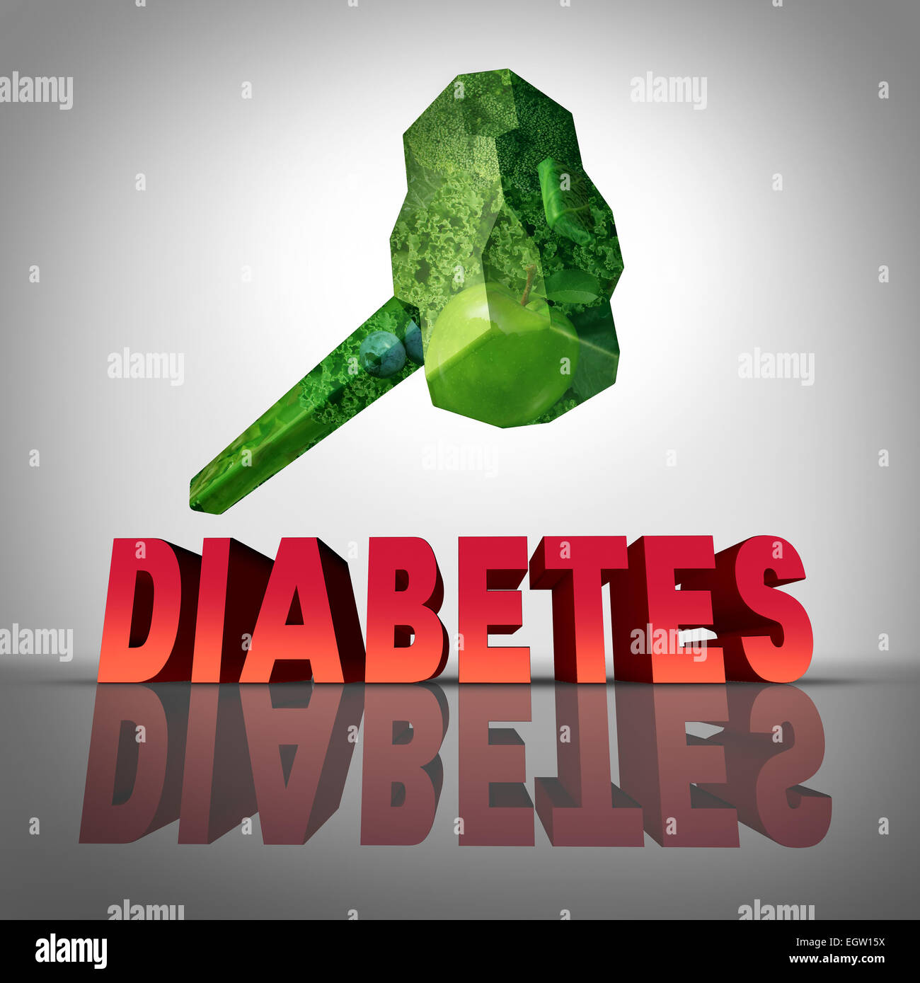 Beating diabetes natural treatment concept as a hammer made of healthy fruits and vegetables destroying the diabetic - Stock Image