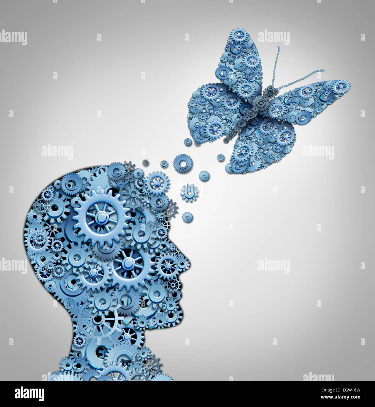 Human thinking and artificial intelligence concept as a technology symbol for a robot head and butterfly shaped - Stock Image