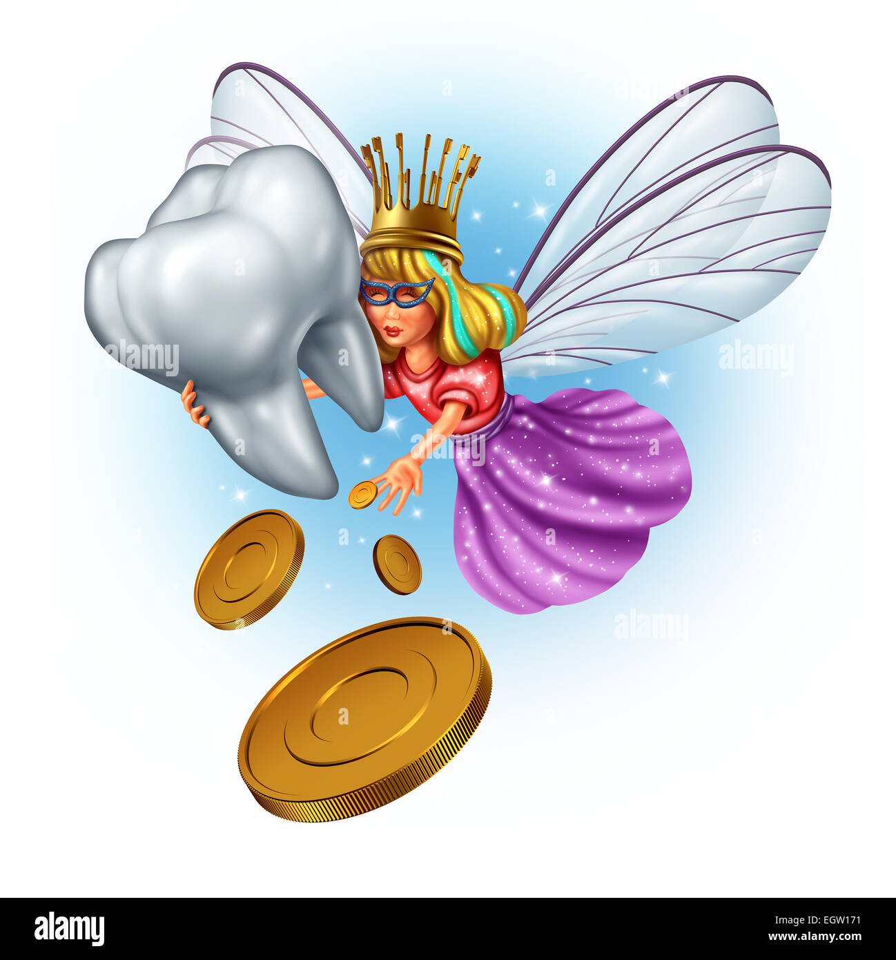 Tooth fairy character as a mythical and magical princess wearing a golden tooth brush crown from a childhood fairytale - Stock Image