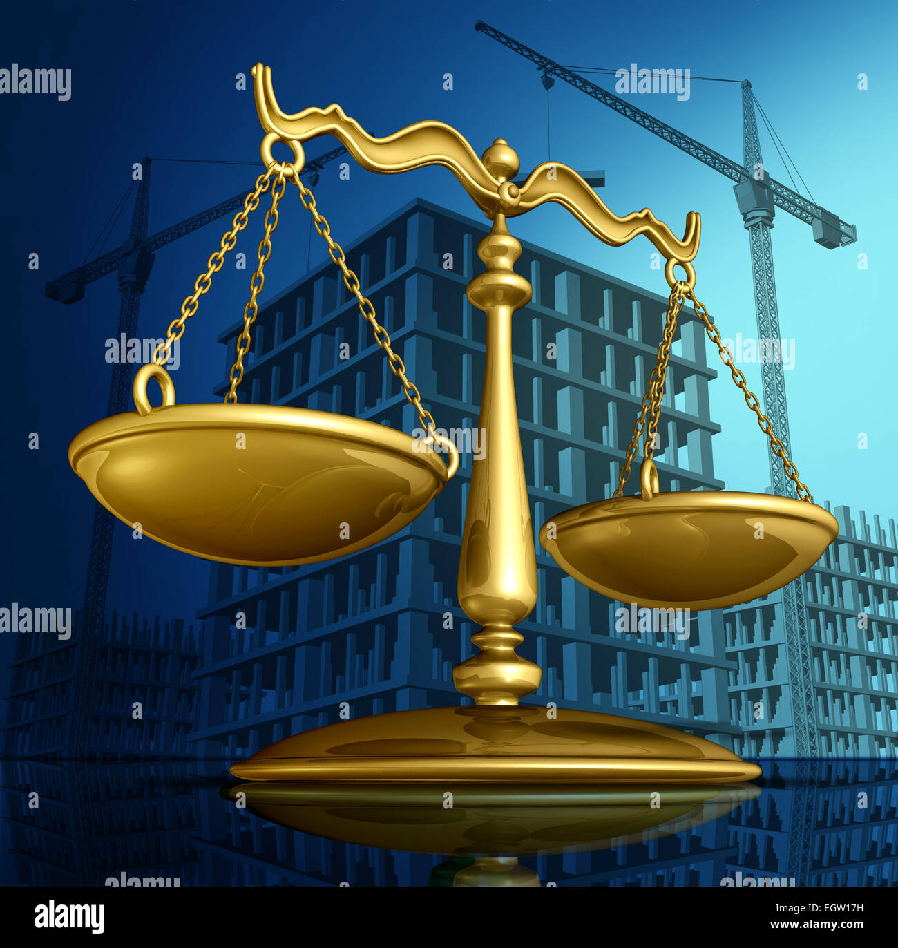 Construction law concept as a justice scale over a working building site with cranes and a structure being built - Stock Image