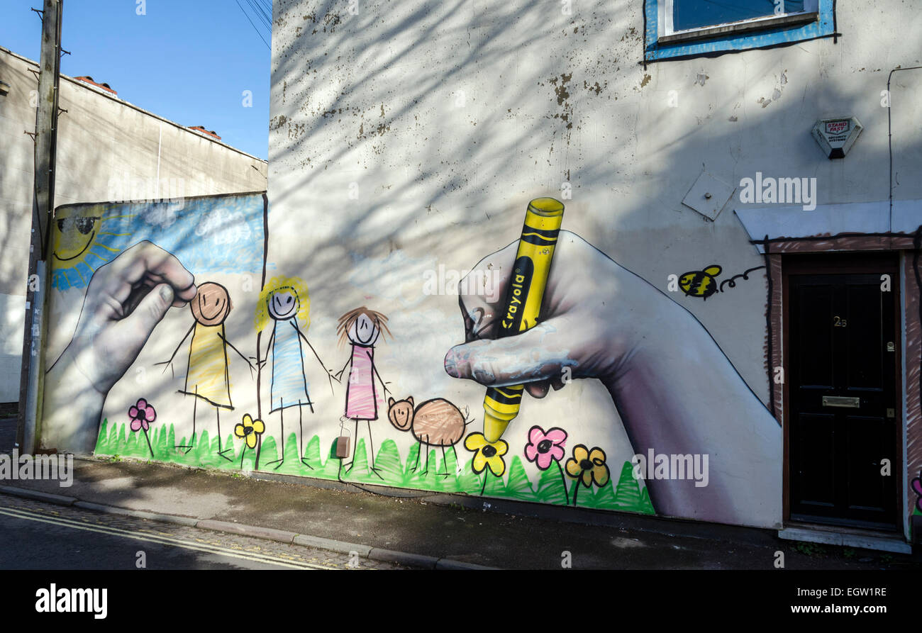 Bristol Street Art, Child's Play on the side of a house in Montpelier area of city of Bristol, UK - Stock Image