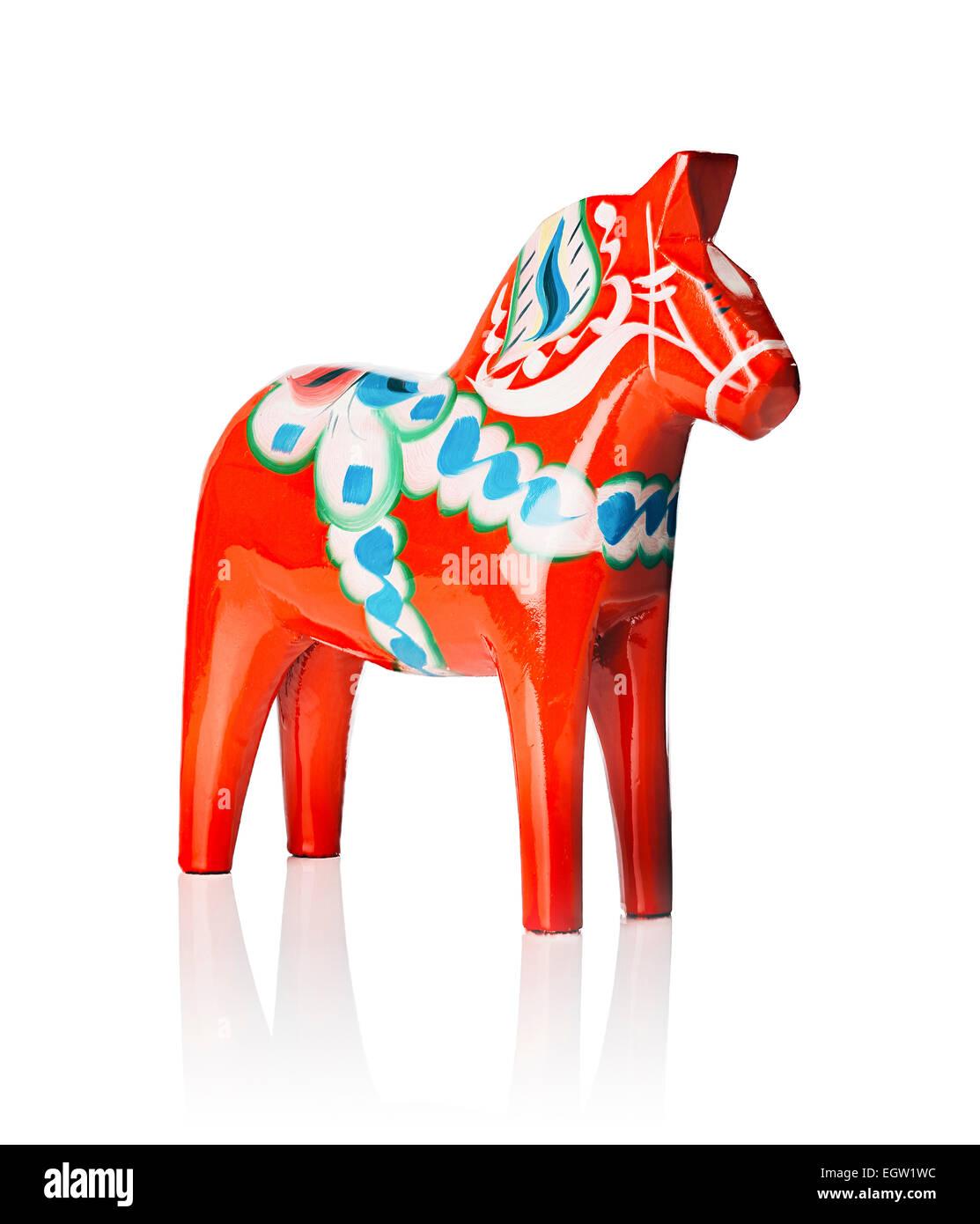 A Traditional Dalecarlian horse or Dala horse (Swedish: Dalahast) It has become a symbol of Dalarna as well as Sweden - Stock Image