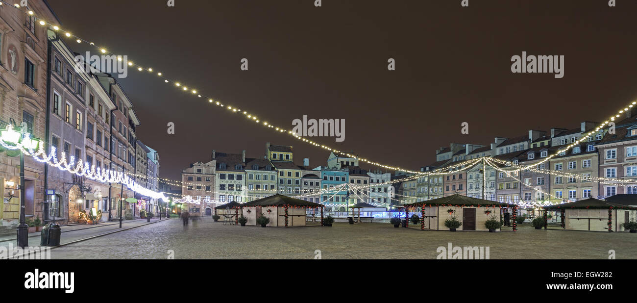 Panoramic view of Old Town in Warsaw at night, Poland. - Stock Image