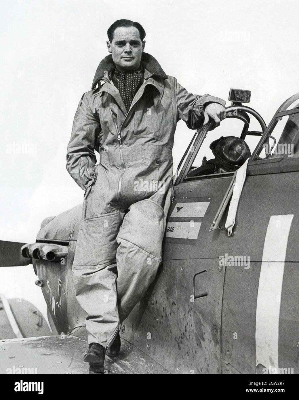 DOUGLAS BADER  (1910-1982)  RAF fighter ace on his Hurricane as Squadron Leader  of  242 Squadron at Duxford in - Stock Image