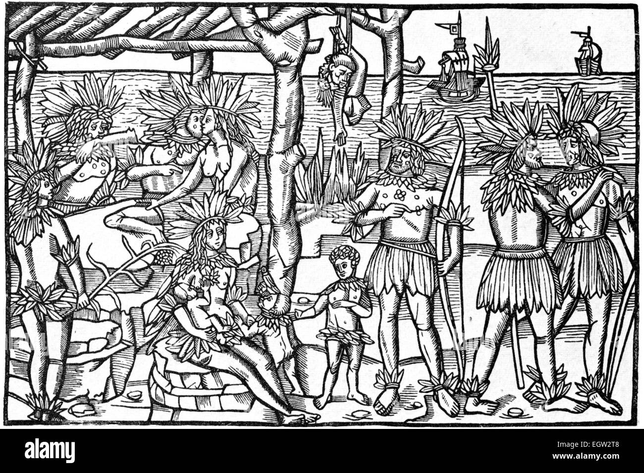 DISCOVERY OF SOUTH AMERICA A German woodcut about 1505 showing native inhabitants - Stock Image