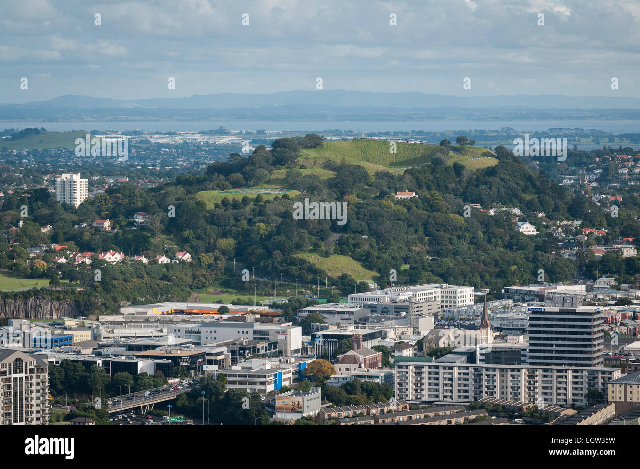 The view from the Skytower, Auckland, North Island, New Zealand. - Stock Image