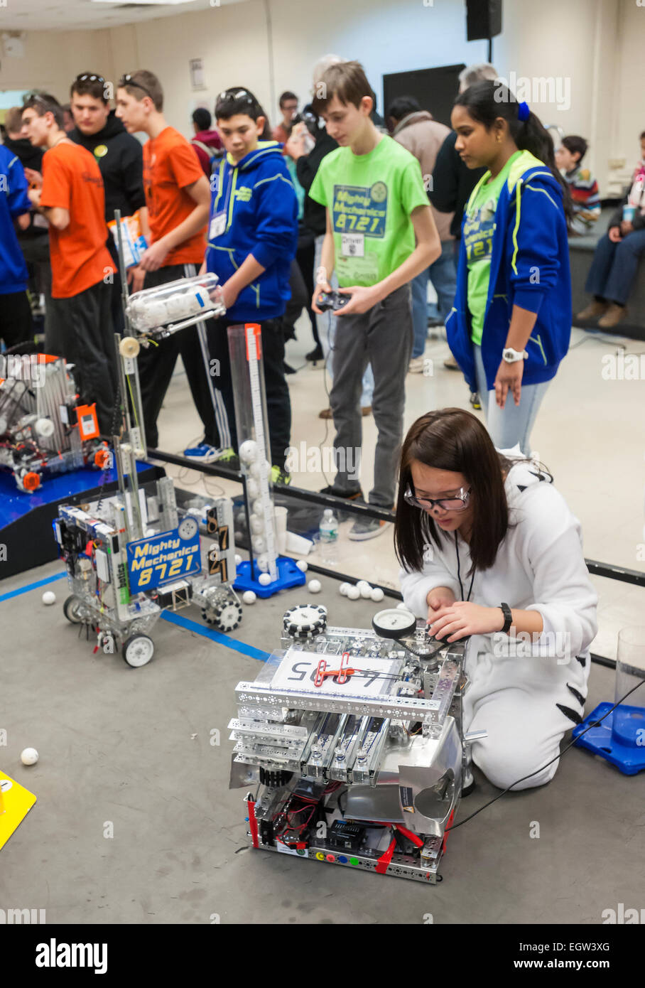 FIRST Tech Challenge Regional Championship held at NYU-Polytechnic in Brooklyn in New York - Stock Image