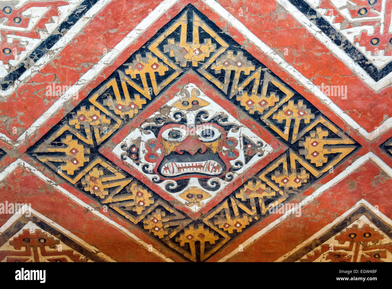 Details of an ancient fresco in Huaca de la Luna in Trujillo, Peru - Stock Image