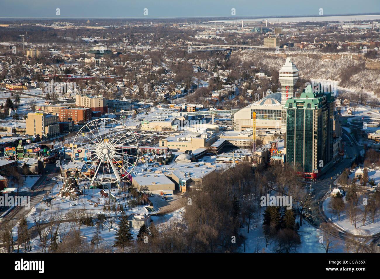 Niagara Falls, Ontario - The city of Niagara Falls, Ontario in winter. The Clifton Hill tourist entertainment district. - Stock Image