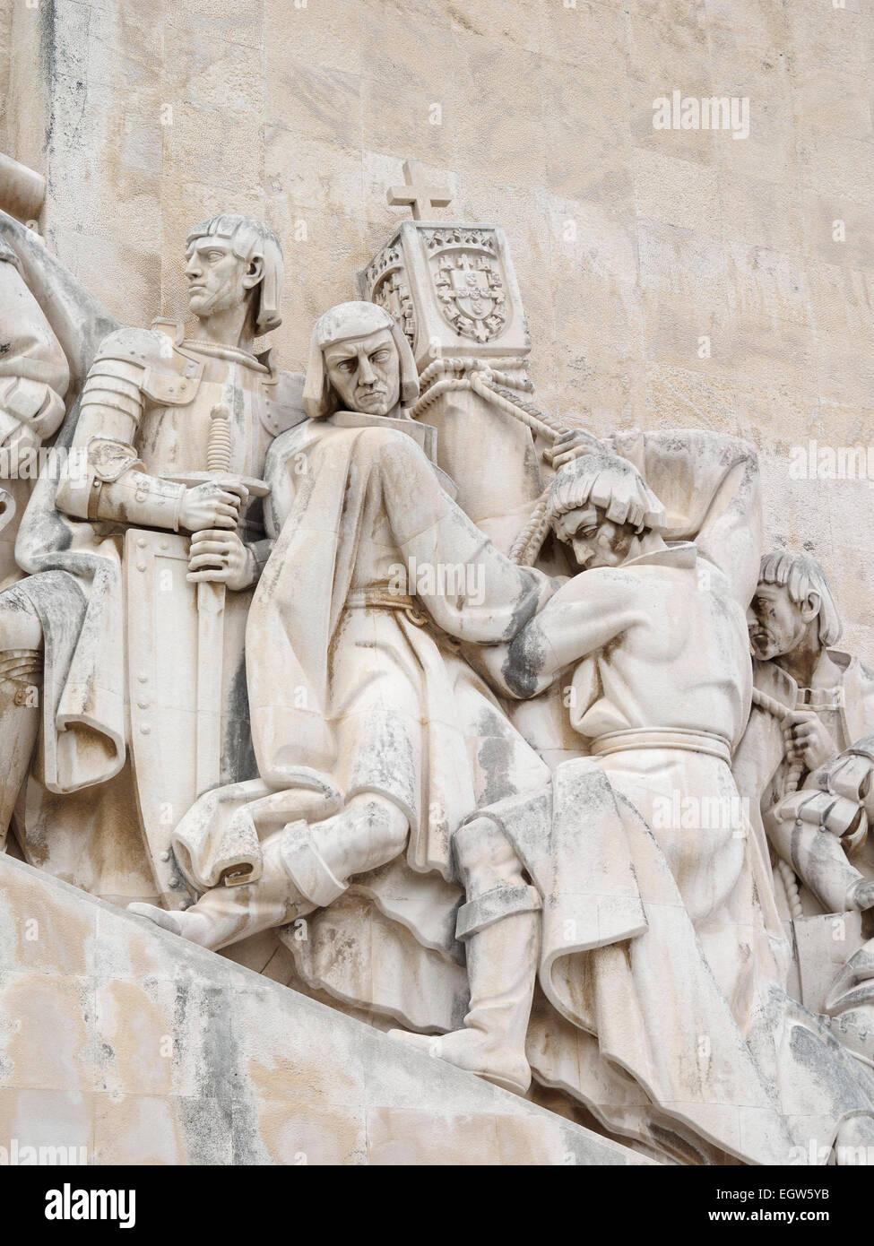 Detail of the statues The Padrão dos Descobrimentos in Belém, Lisbon, Portugal - Stock Image