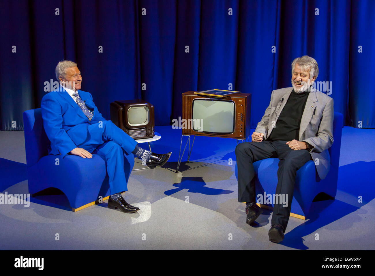 Walsall, West Midlands, UK. 2 March 2015. David Hamilton (L) with broadcaster and DJ Ed 'Stewpot' Stewart at the - Stock Image