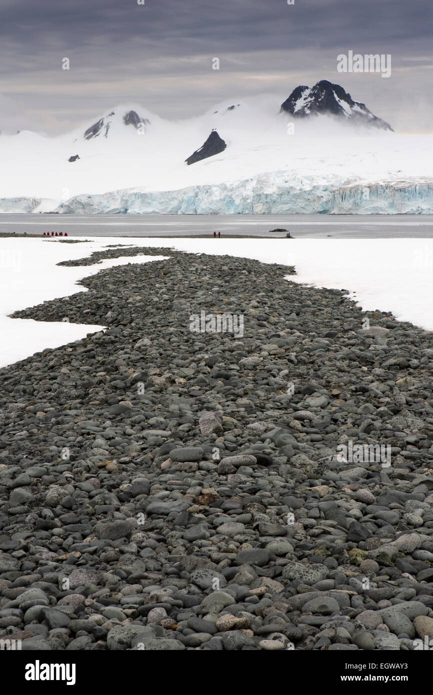 Antarctica, Half Moon Island beach, moraine of granite rocks on beach - Stock Image