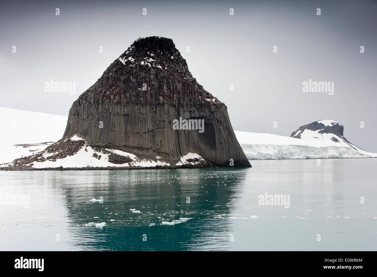 Antarctica, South Shetland Islands, Edinburgh Rock, basalt columns - Stock Image