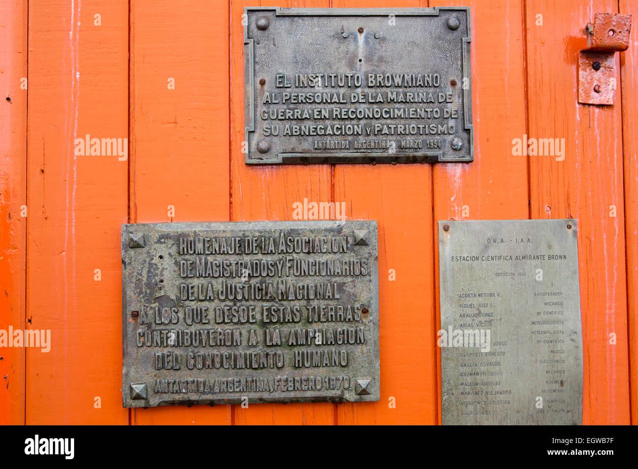 Antarctica, Graham Land, Paradise, Bay, Almirante Brown Naval Base, plaques on door Stock Photo