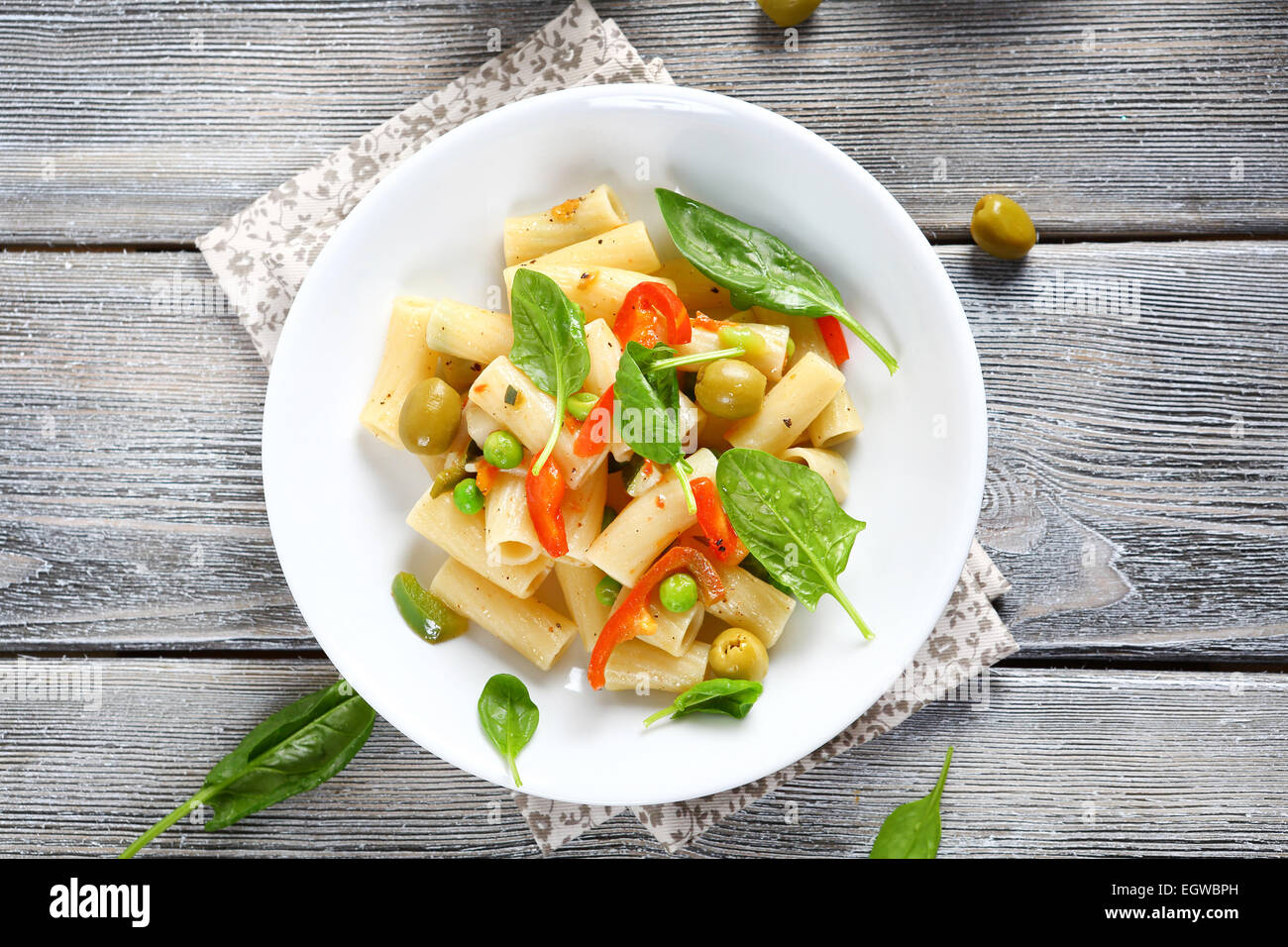 Pasta with roasted peppers, vegetable - Stock Image